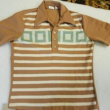 Vintage 70s Surfing Striped Geometric King's Road Knit Sears Hang Ten L Vtg