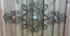 Iron Metal Wall Decor, distressed turquoise flower, wall art, Shabby and Chic.