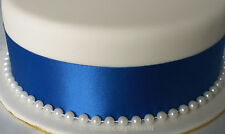 50mm RIBBON & 8mm PEARL BEADS  WEDDING CAKE TOPPER -  CAKE DECORATIONS
