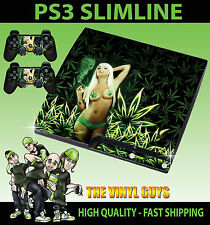 PLAYSTATION PS3 SLIM SEXY CANNABIS GIRL WEED LEAF STICKER SKIN & 2 PAD SKINS
