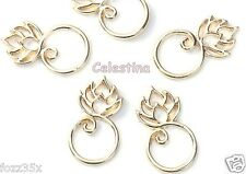 5 x Lotus Flower Connector Charms - Gold Tone Lotus Links Pendants Blossom 26mm