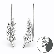 Oxidised 925 Sterling Silver - Leaf Ear Pin / Ear Climbers / Ear Crawlers