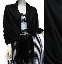 NEW Solid 100%Pashmina Wrap Stole Cashmere Shawl/Scarf Soft Black #5808