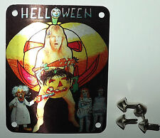 HELLOWEEN Original Vintage 1980`s Tin Metal Patch With Studs