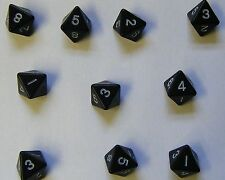 10 Black Eight Sided Dice Geometric RPG D8 Firetop Mountain NEW