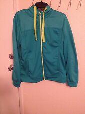 Turquoise Embossed Hoodded Fleece Jacket