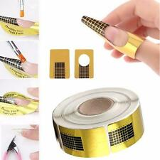 100X Gold Nail Art Tips Extension Form Guide Acrylic UV Gel Sticker DIY Tool