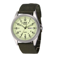 AK Military Night Vision Dial Date Day Green Nylon Men's Army Sport Quartz Watch