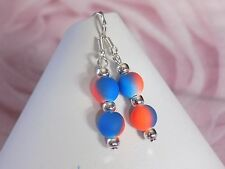 Medium Drop 8mm Neon Orange Blue Rubber Beads Silver Plated Hook Dangle Earrings