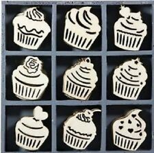 45 X WOODEN CUPCAKE SHAPES EMBELISHMENTS BOXED TOPPERS CARD MAKING TOPPERS