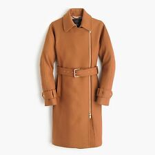 New J Crew women  BELTED ZIP TRENCH COAT IN WOOL MELTON 0 $378 camel