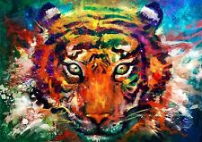 "ABSTRACT TIGER ANIMAL Large Canvas Picture 20""x30"""