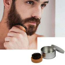 Mens Bamboo With Boar Bristles Comb Mustache Solid Wood Beard Oil Brush w/Case
