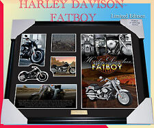 NEW!! HARLEY DAVIDSON FATBOY MEMORABILIA FRAME, LIMITED EDITION TO 499, with COA