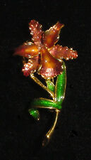 MFA Museum of Fine Arts Enamel Goldtone Orchid Flower Pin Brooch