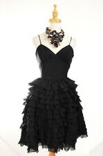 NWT $380 Betsey Johnson Evening Ragan Regis Prom Ruffle Cocktail Dress Black 10