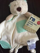 MOTHERCARE CUDDLY TEDDY BEAR BLANKIE CREAM COMFORTER BLANKET soft toy textured