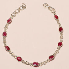 925 SOLID STERLING SILVER NATURAL FACETED CUT RED RUBY 9 STONE BRACELET...