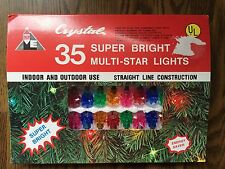 VINTAGE CRYSTAL BRAND DOUBLE STAR REFLECTOR TWINKLING 35 CHRISTMAS LIGHT SET