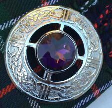 Men's Kilt Fly Plaid Brooch Celtic Design Purple Stone/Ladies Shawl Brooch