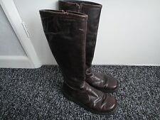 JUNGLA LADIES KNEE HIGH BURGUNDY LEATHER BOOTS SIZE 4/37 ZIP FLAT