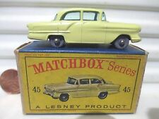 Lesney Matchbox 1958 RW45A Yellow Vauxhall Victor Car GPW Green Windows Mint Bxd