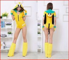 Sexy Furry Dog Puppy Pluto Romper Complete Animal Costume XS-M Cosplay Yellow