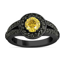Fancy Enhanced Yellow Diamond Engagement Ring 14k Black Gold Vintage Style
