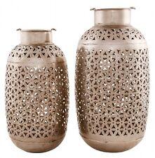 Windlicht silber Metall, Marokko Orient Ethno, Handarbeit, li. im Bild