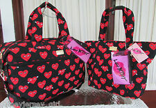 LUV BETSEY JOHNSON RED HEARTS WEEKENDER TOTE TRAVEL BAG SET 2 COSMETICS NWT