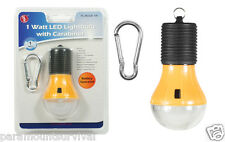 1 Watt LED Battery Operated Light Bulb W/ Carabiner Great for Camping and Tents