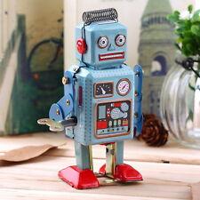 Vintage Mechanical Clockwork Wind Up Metal Walking Robot Tin Toy Kids Gift  KK