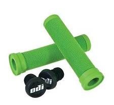 ODI SOFT FLANGELESS LONGNECK GRIPS SOFTIES BMX BIKE & SCOOTER 143mm  GREEN NEW