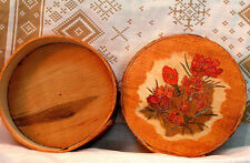 """Spring Crocus"" Hand made primitive shaker style pyrography decorated wood  box."