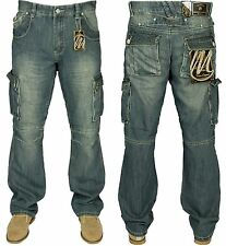 MENS NEW KING SIZE CARGO COMBAT DENIM JEANS IN BLACK BLUE COLOURS SIZES 30 - 60