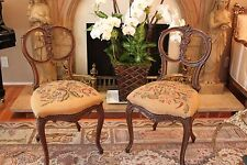 Antique Pair Of  French Carved Wood Tapestry Chair Salon Chair