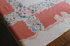 """VINTAGE TABLECLOTH*FLOWERS, BOWS*PASTELS*55"""" X 46"""" WILENDUR? VERY FUN FOR SPRING"""