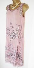 Whistles Silk Dress 12 14 anni'20 flapper stile Rosa Scuro