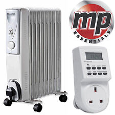 Daewoo 2000W Oil Filled Radiator Heater with Thermostat & Digital Timer - White