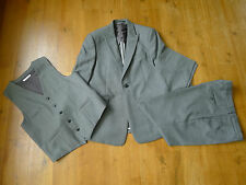 "Reiss 3 piece grey suit chest 40"", trousers 36"" 100% wool with dust bag"