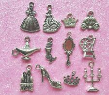 12 x PRINCESS / FAIRY TALE CHARMS - Crown Castle Mirror Godmother Tibetan Silver