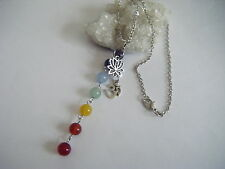 CHAKRA Gemstone Column Necklace Lotus OM Pendant Yoga Spiritual Meditation Heals