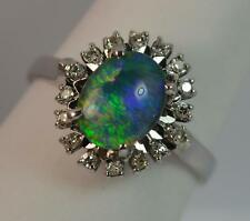 Beautiful Opal Doublet and Diamond 18ct White Gold Cluster Ring d0688