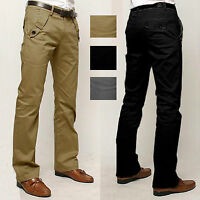 Mens Casual Chinos Cotton Trousers Fit Straight Leg Full Length Pants Size 29-36