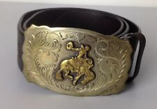 Ralph Lauren Leather Belt Plaque Buckle Mens Large Brown Bull Rider Rodeo New