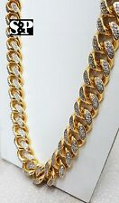 "Hip Hop Rapper Iced Out 16mm 30"" Brass Gold Plated Miami Cuban Chain Necklace"