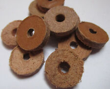 50 Round Natural Leather Spacer Beads 14mm x 3mm Large Hole (3-4mm)