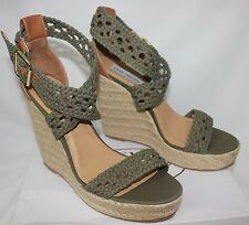 Steve Madden Magestee khaki green espadrilles wedge sandals - 10 New With Box