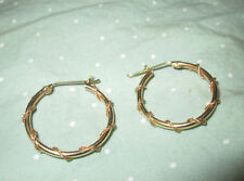 14K Yellow GOLD Intriquite WIRE WRAPPED Sexy HOOP Pierced EARRINGS