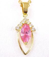 18K Gold Plated Black Pink Simulated Diamond Women Fashion Pendant Necklace